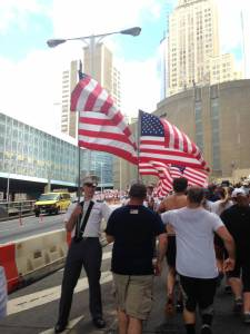 Emerging from the tunnel: Flags lined the street on the left